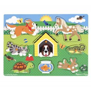 Melissa Doug Pets Wooden Peg Puzzle 8 pcs 22 - HTUK Gifts